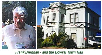 An image of the Bowral Memorial Town Hall, and Fr Frank Brennan having a coffee during a conference