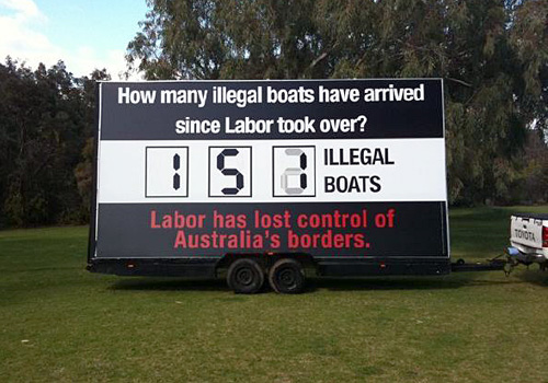 The Liberals' illegal boats Billboard