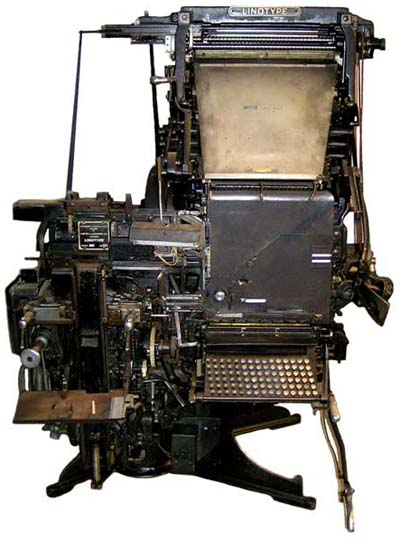 An early image of the media: a Linotype typesetting machine as they were in use during the 1950's and 1960's