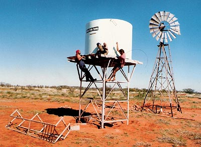 Looking after the water tank and windmill at The Grey Station, Pt Hedland