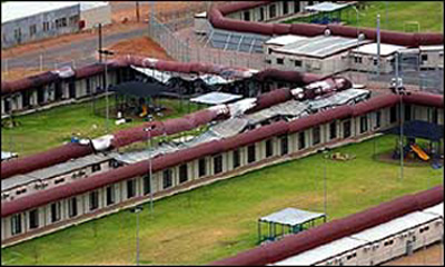 The Baxter detention centre after the fires during the Christmas break in 2003