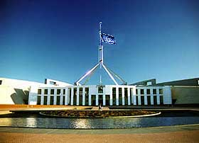 Canberra Parliament House: Please note the half-mast UN Flag...